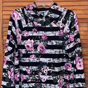 LulaRoe L Floral & Stripped Amber Hacci Material